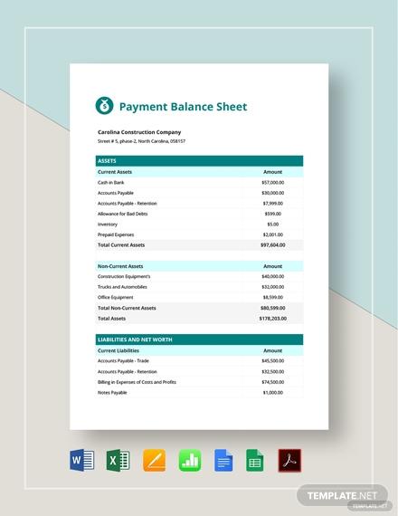 payment balance sheet