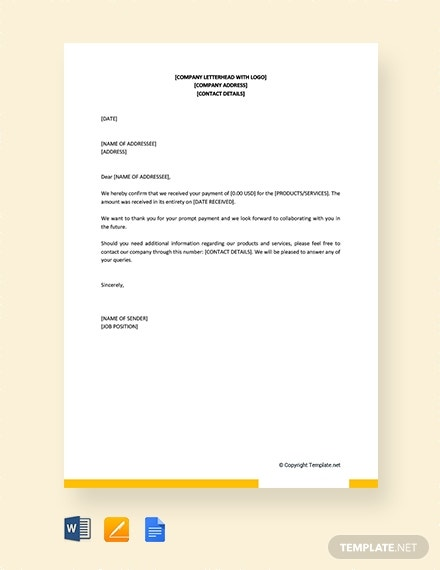 payment confirmation letter