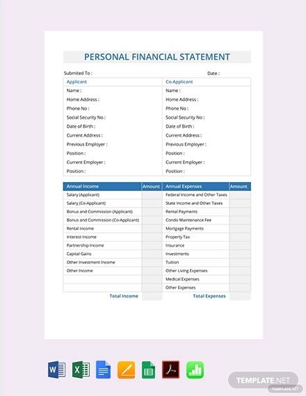 personal financial statement template 1