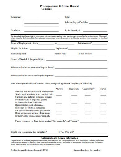 pre employment reference request check template