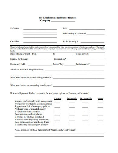 pre employment reference request form template