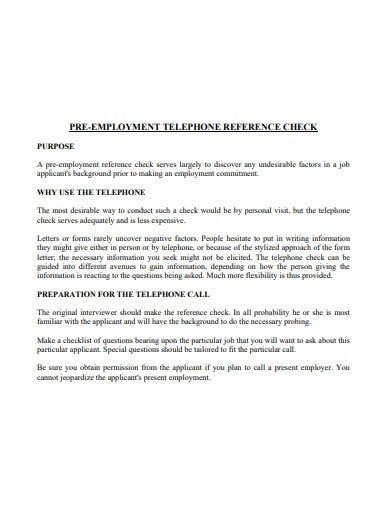 pre employment telephone reference check template