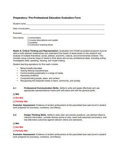 pre professional education evaluation tracking form sheet