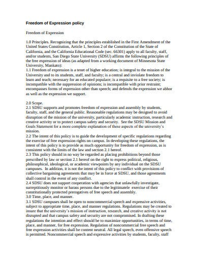 principle student freedom of expression policy template