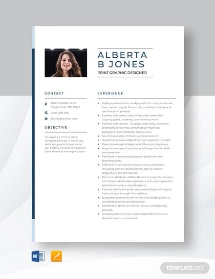 print graphic designer resume template
