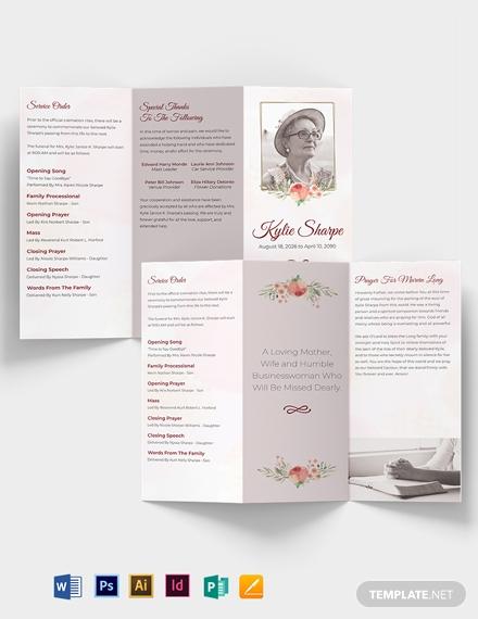 printable burial funeral tri fold brochure template1