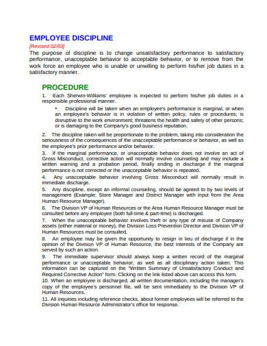 printable employee discipline