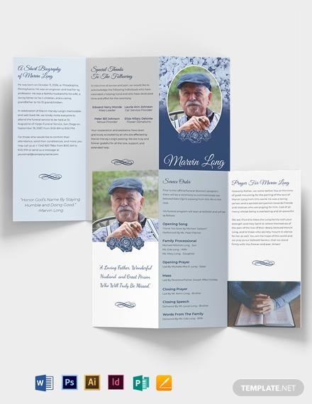 printable loving memory funeral trifold brochure template