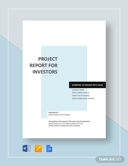 project report template for investors