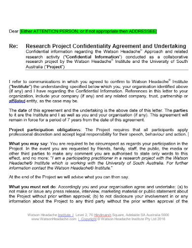 project research confidentiality agreement template