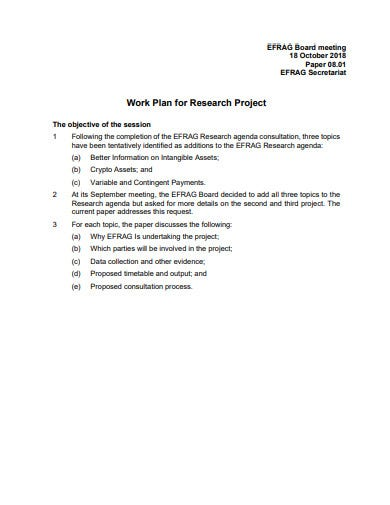 project research work plan template