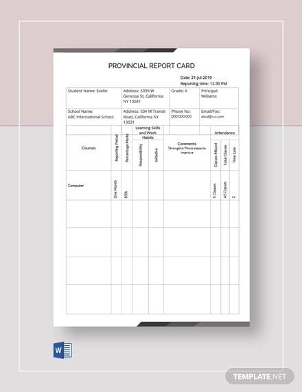 provincial report card template