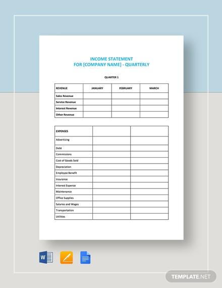 quarterly income statement4