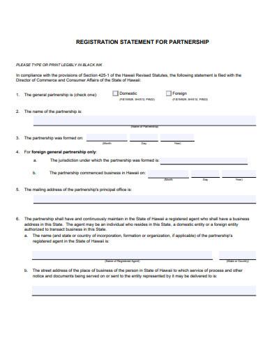 registration statement of partnership