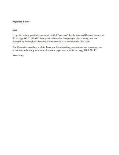 rejection response email letter template