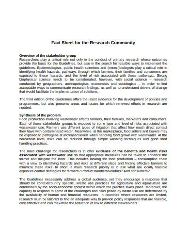 research community overview fact sheet template