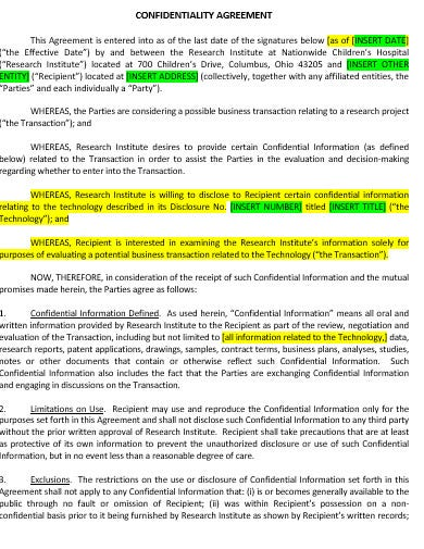 research confidentiality agreement template in doc