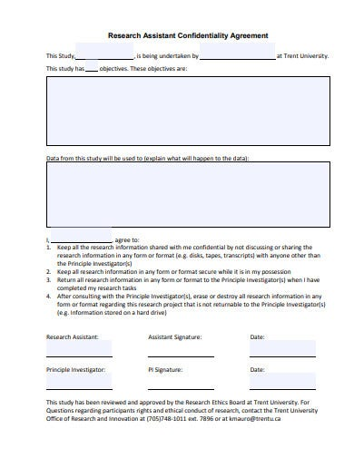 research confidentiality assistant agreement template