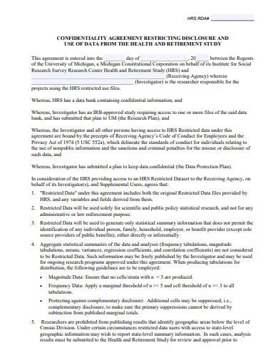 research confidentiality disclosure agreement template