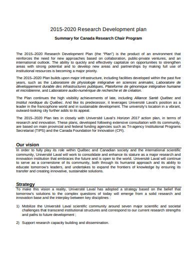 research development plan sample