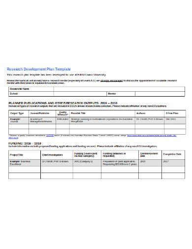 research development plan in doc