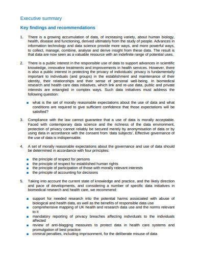 research ethics date executive summary template