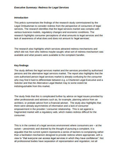 research executive summary legal services template