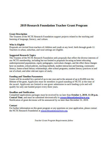 research foundation teacher grant program