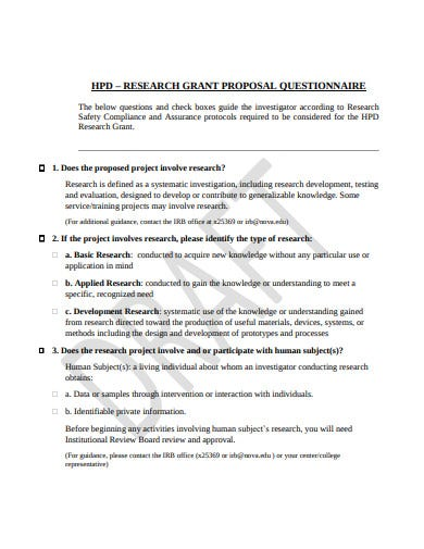 research grant proposal questionnaire