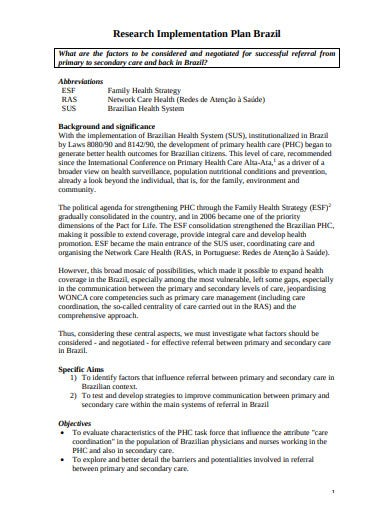 research implementation plan template