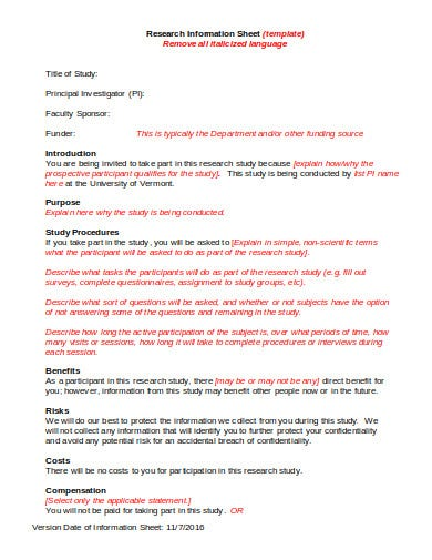 research information sheet template