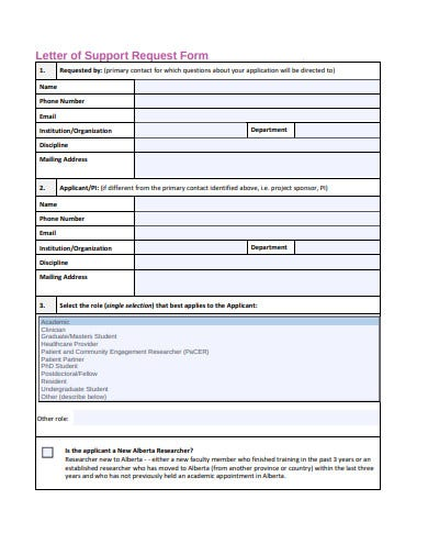 research letter of support request form