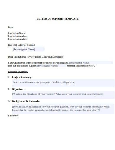 research letter of support template