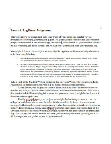 research log assignment template