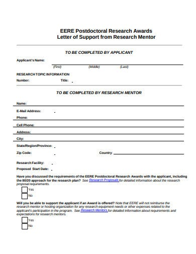 research mentor letter of support template