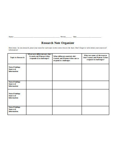 research note organizer template