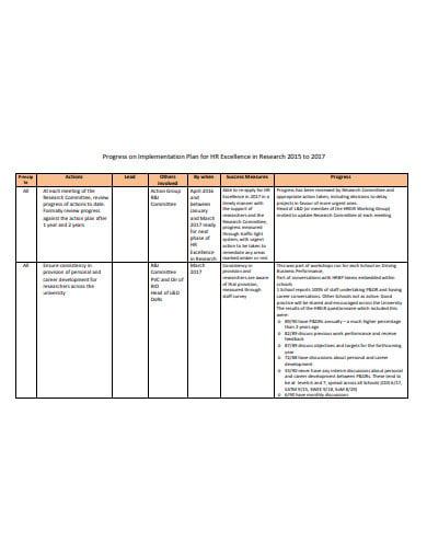 research progress implementation plan template