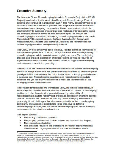 research project executive summary example