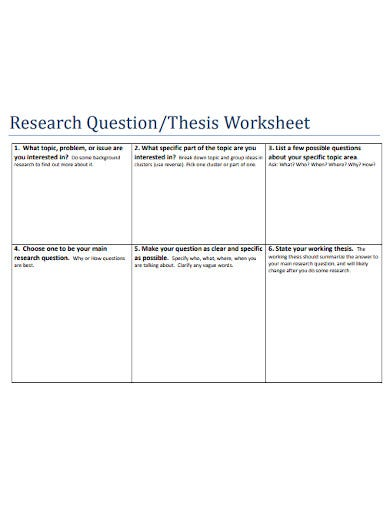 research question thesis worksheet template
