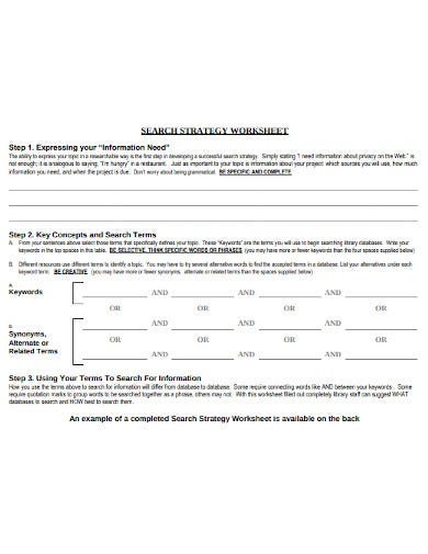 research strategy worksheet template