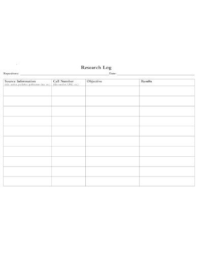 research student log template