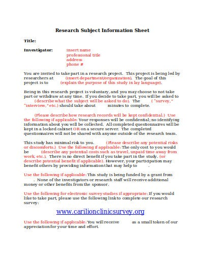 research subject information sheet