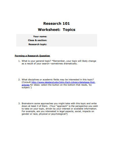 research topic worksheet template