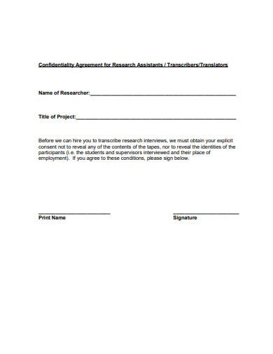 research translator confidentiality agreement template