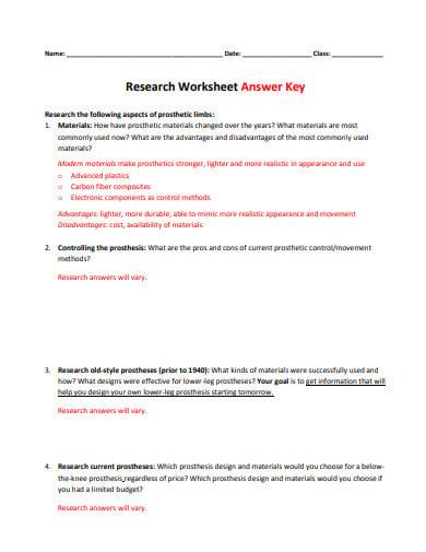 research worksheet answer key