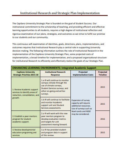 research and strategic plan implementation