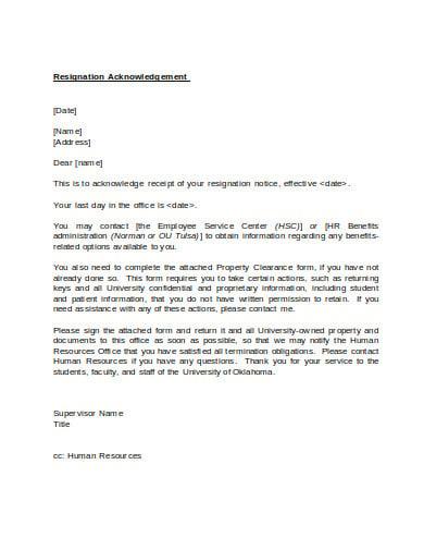 resignation acknowledgement letter format