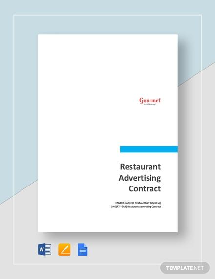 restaurant advertising contract