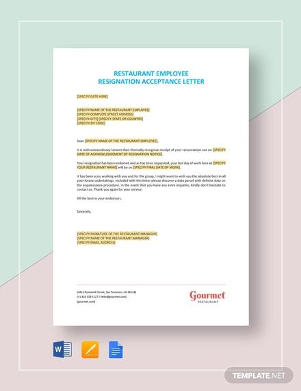 restaurant employee resignation acceptance letter template1