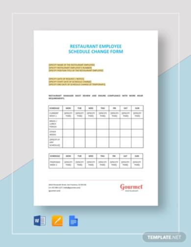 restaurant employee schedule change form template
